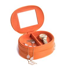 Orange Lizard Leather Two Level Jewelry Case with Mirror, Zipper Closures and Soft Velour lined