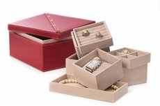 Studded Red Leather Two Level Jewelry Box with Removable Individual Trays