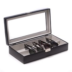 Black Leather Multi Eyeglass Case with Glass Top and Locking Clasp Velour lined