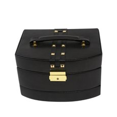 3 Level Hinged Black Leather Jewelry Box with Studs