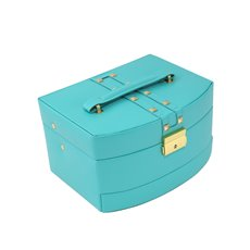 3 Level Hinged Turquoise Leather Jewelry Box with Studs