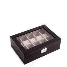 Lacquered Steel Gray Wood 10 Watch Case with See-thru Glass Top, Soft Velour Lined, Locking Clasp and Silver Accents