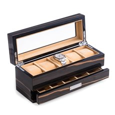 Lacquered Ebony Wood 5 Watch Box with Glass Top and 5 Compartment Accessory Drawer and Chrome Accents
