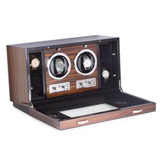 Ebony Burlwood 2 Watch Winder and 4 Storage Case with Glass Face Selectable Winding Mode for Clockwise, Counterclockwise or Dual Direction