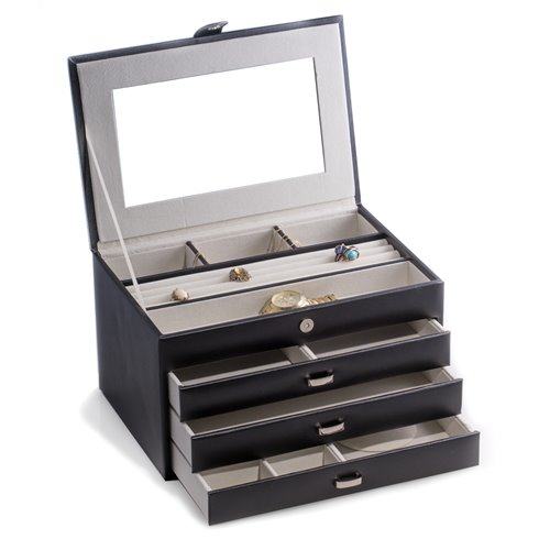 Black Leather 4 Level Jewelry Box with Multi Compartments, Mirror, three drawers, Soft Velour Lined and Snap Closure
