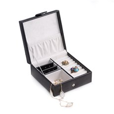 Black Leather Square Jewelry Box with Slots for Rings, Earrings and Multi Compartments with a Snap Closure