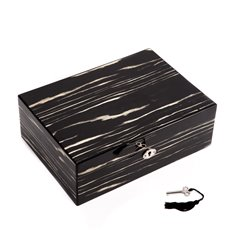 Lacquered Ebony Wood Jewelry Box with Valet Tray and Key Lock