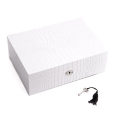 White Croco Design Wood Jewelry Box with Valet Tray and Key Lock