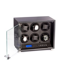 Carbon Fiber Finish 6 Watch Winder with Locking Glass Door