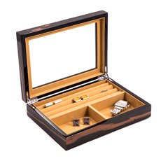 Lacquered Ebony Burl Wood Valet Box with Glass Top, Slots for Cufflinks and Magnetic Closure
