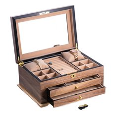 Walnut Lacquered Wood 3 Level Jewelry Box with Gold Accents and Locking Lid