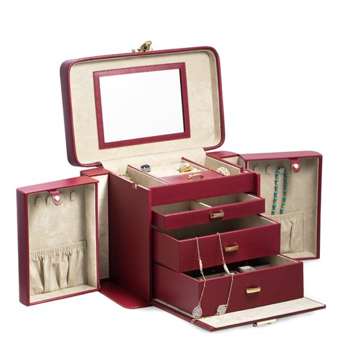 Red Lizard Leather 4 Level Jewelry Box with Travel Pouch