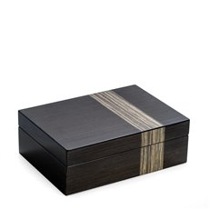 Lacquered Ash Wood Valet Box with Multi Compartments for Storage, 4 Watch Pillows and Removable Valet Tray