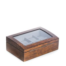 Lacquered Brown Burl Wood 8 Watch Case with Glass Top and Stainless Accents Soft Velour Lined with Hideaway Hinges