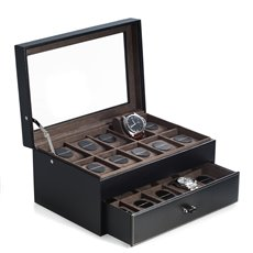 Black Pebbled Leather 20 Watch Case with Secure Nesting Storage of up to 50mm Bezel Watches