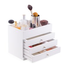 White Wood Makeup Case with 3 Drawers and Open Top Vinyl Lined for Easy Cleaning