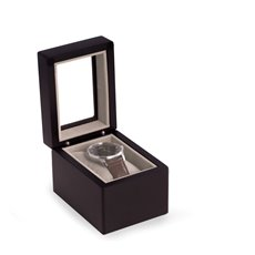 Matte Black Wood Single Watch Box with Glass Top, Velour Lining and Pillow
