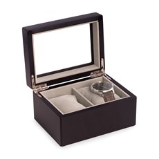 Matte Black Wood 2 Watch Box with Glass Top, Velour Lining and Pillows