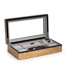 Lacquered Burl Wood Valet / Jewelry Box with Glass Top and Soft Velour Lining