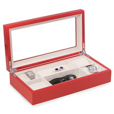 Lacquered Red Wood Valet / Jewelry Box with Glass Top and Soft Velour Lining