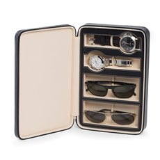 Black Leather Two Watch and Two Sunglass Travel Case with Form Fit Compartments with Zipper Closure