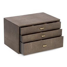 3 Level Leather Jewelry Storage Box with Stingray Deboss, Ring Storage and Four Watch Compartments with Pillows in a Soft Velour Lining