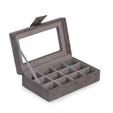 12 Cufflink Storage Case in Grey with Soft Velour Lining