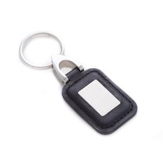 Black Leather Key Ring with ID Tag and Chrome Trim