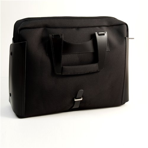 Black Leather and Ballistic Nylon Briefcase with Padded Computer Compartment and Shoulder Strap
