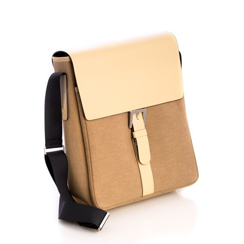 Ivory Leather and Khaki Fabric Messenger Bag with Shoulder Strap