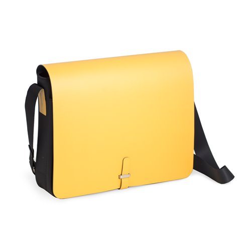 Yellow Leather and Ballistic Nylon Shoulder Bag with Multi Compartments