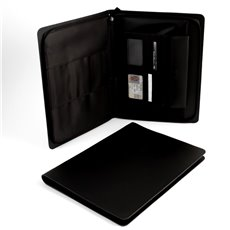 Black Leather Portfolio with Multi Compartments and Zipper Closure