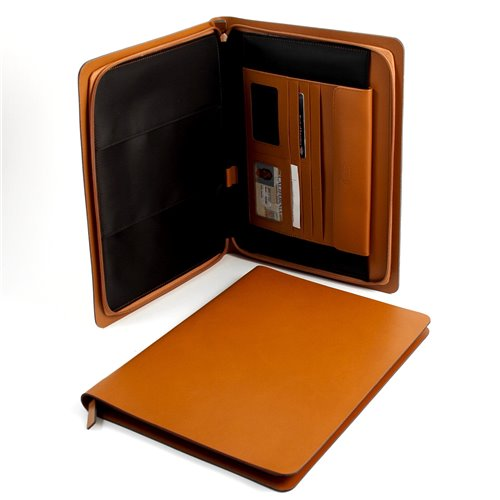 Saddle Leather Portfolio with Multi Compartments and Zipper Closure