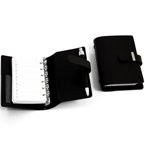 Black Leather Agenda Book with Ball Point Pen, Six Ring Binder, Slots for Cards and ID Window
