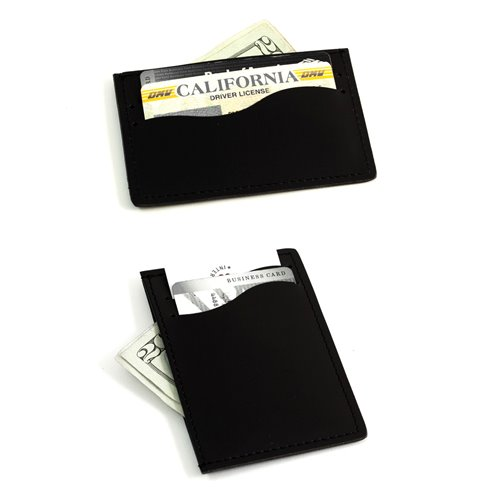 Black Leather Slim Wallet with Multi Slots