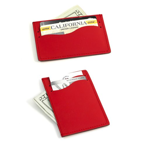 Red Leather Slim Wallet with Multi Slots