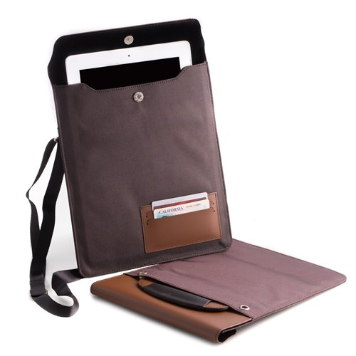 Brown Leather and Ballistic Nylon Tablet Carrying Case with Hide-away handle and Adjustable Shoulder Strap