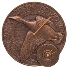 "Mallard Duck 14"" Indoor Outdoor Wall Clock & Thermometer , Antique Copper"