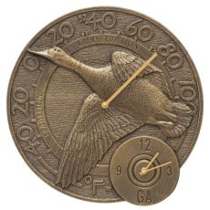 "Mallard Duck 14"" Indoor Outdoor Wall Clock & Thermometer , French Bronze"