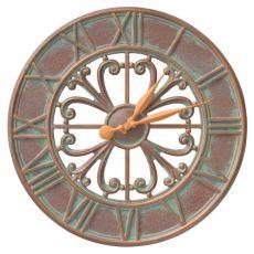 "Villanova 21"" Indoor Outdoor Wall Clock, Antique Copper"
