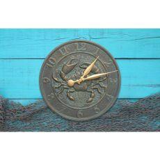 "Crab Sea Life 16"" Indoor Outdoor Wall Clock, Green Gold"