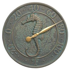 "Seahorse Sea Life 16"" Indoor Outdoor Wall Thermometer, Antique Copper"