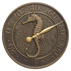 """Seahorse Sea Life 16"""" Indoor Outdoor Wall Thermometer, Antique Copper"""