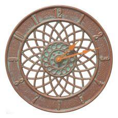 """Spiral 14"""" Indoor Outdoor Wall Clock , Copper Verdigris"""