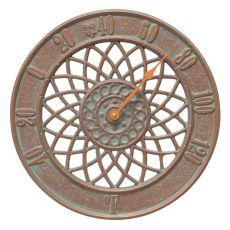 "Spiral 14"" Indoor Outdoor Wall Thermometer, Copper Verdigris"