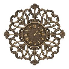 "Filigree Silhouette 21"" Indoor Outdoor Wall Clock , Aged Bronze"