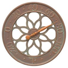 "Medallion 18"" Indoor Outdoor Wall Clock, Copper Verdigris"