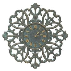 "Filigree Silhouette 21"" Indoor Outdoor Wall Clock , Bronze Verdigris"