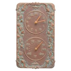 Acanthus Indoor Outdoor Wall Clock & Thermometer , Copper Verdigris