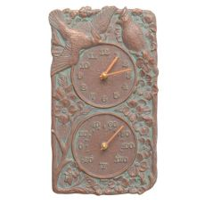 Cardinal Indoor Outdoor Wall Clock & Thermometer , Copper Verdigris